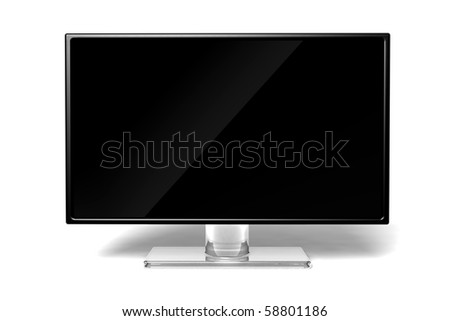 wide screen modern High-definition TV icon on white background - stock photo