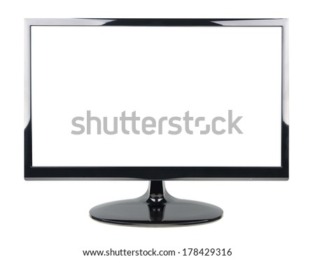 wide screen TV isolated on a white  - stock photo