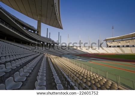 Wide shot of a big stadium - stock photo