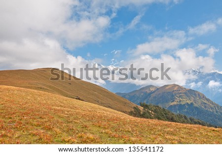 wide shot of mountain meadow - stock photo