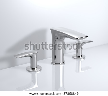 wide-spread faucet - stock photo