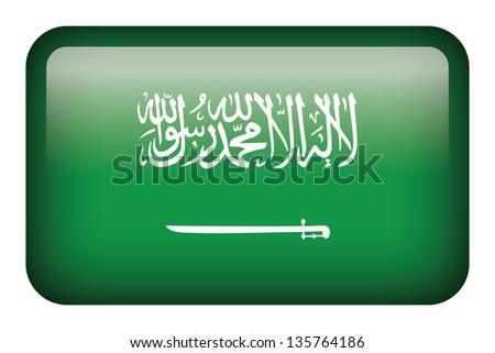Wide square flag button series - Saudi Arabia - stock photo
