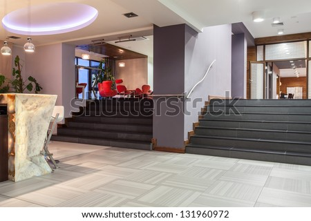 wide stairs, entrance and bar