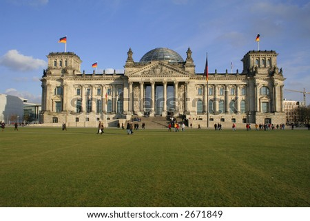 wide view angle of the reichstag building, berlin, germany - stock photo
