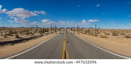 Wide view of desert road through the American southwest.