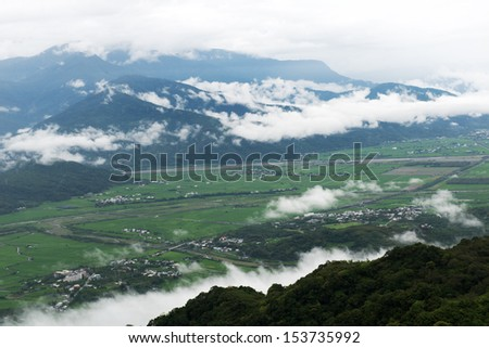 Wide view of East Rift Valley, Hualien, Taiwan.