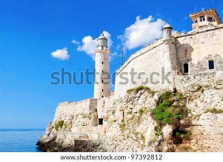 Wide view of El Morro castle in Havana, Cuba - stock photo