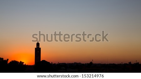 Wide view of Koutobia mosque at sunset, Marrakesh
