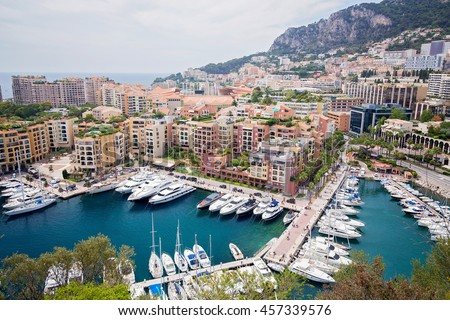 Wide view of luxury yachts in the harbor of Monte Carlo, Monaco - stock photo