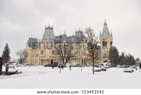 wide view of the Palace of Culture in Iasi city, Romania. winter scene