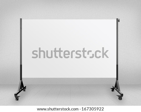 Wide white presentation board against blank wall. - stock photo