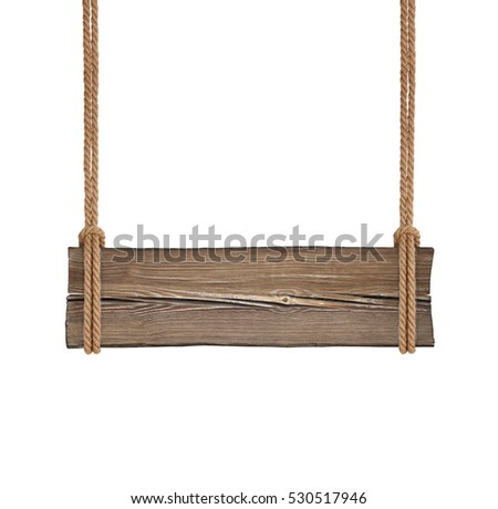 Wide wooden signboard hanging on double ropes isolated on white