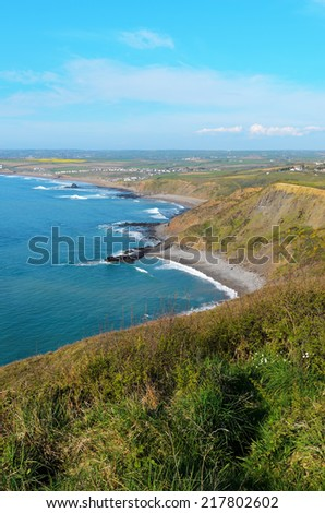 Widemouth Beach near Bude in Cornwall England - stock photo