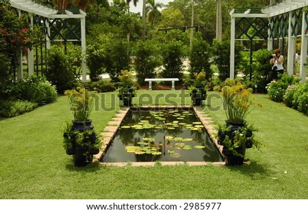 wider view of garden.Fort Meyers,Florida - stock photo