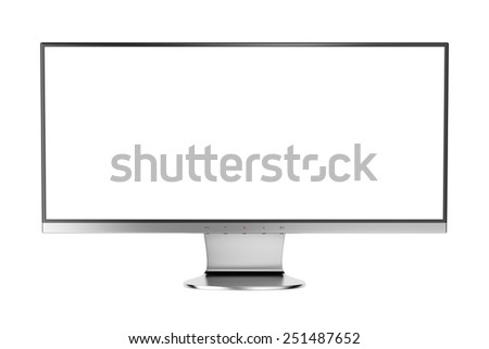 Widescreen display isolated on white background - stock photo