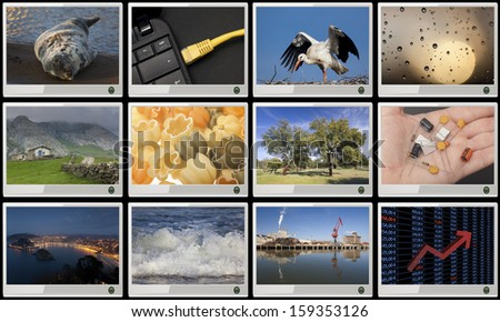Widescreen HD displays with multiple images - stock photo