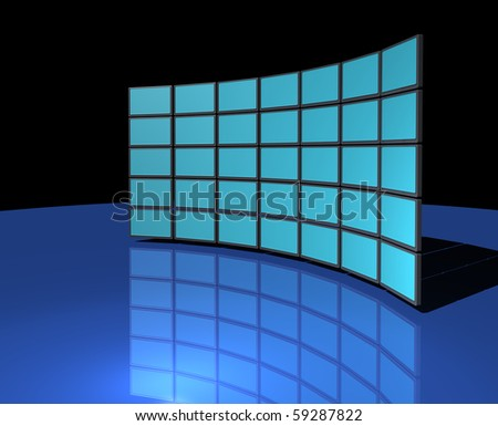 Widescreen monitor display wall on dark blue reflective background - stock photo