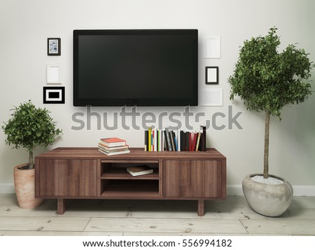 widescreen television with a wooden pedestal. 3d illustration