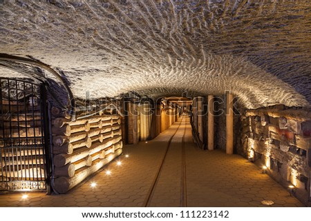 WIELICZKA, POLAND - AUGUST 21: Wieliczka Salt Mine (13th century) is one of the world's oldest salt mines. Has over 300 corridors and 300 chambers on 9 levels. August 21, 2012 in Wieliczka, Poland.