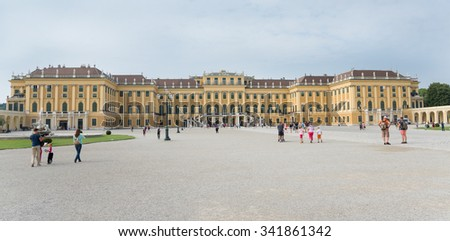 WIEN - AUGUST 3: People at entrance of Schoenbrunn Sissi Castle. Since 1996 the palace and the garden have been declared World Heritage by UNESCO. on august 3,2015 in Wien