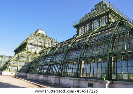 WIEN, AUSTRIA - CIRCA FEBRUARY 2016: The Palmenhaus Schoenbrunn is a large greenhouse