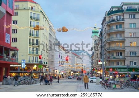 WIEN, AUSTRIA, JANUARY 4, 2015: view of the shopping center next to marxergasse street in wien. - stock photo
