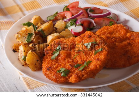 Wiener schnitzel, fried potatoes and vegetable salad on the plate closeup. Horizontal