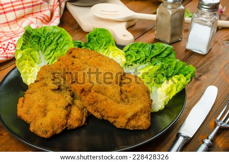 Wiener Schnitzel with mashed potato, veal meal, original and delicious - stock photo