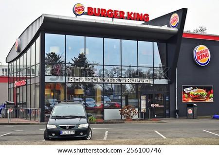WIESBADEN,GERMANY-FEB 02:Burger King Restaurants on February 02,2015 in Wiesbaden, Germany.Burger King, often abbreviated as BK, is a global chain of hamburger fast food restaurants,United States. - stock photo