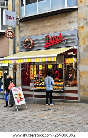 WIESBADEN,GERMANY-FEB 18:Ditsch fast food  bar on February 18, 2015 in Wiesbaden,Germany.Ditsch is a German chain of pretzel bars also selling croissants and pizza snacks.