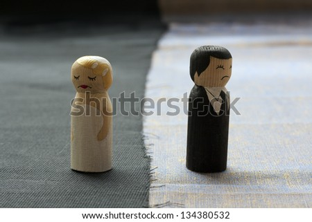 wife and husb?nd doodles in divorce process concept broken relationships - stock photo