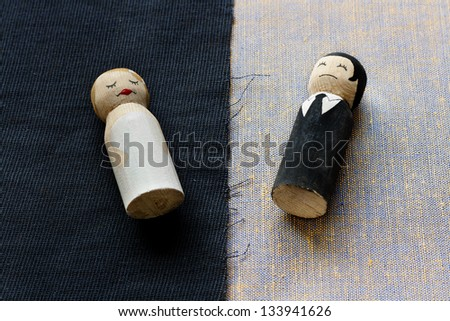 wife and husband doodles in divorce process concept broken relationships - stock photo