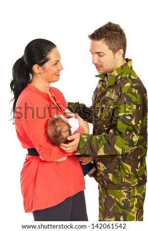 Wife and newborn baby welcoming her military husband came home isolated on white background