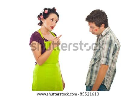 Wife argue her unfaithful husband isolated on white background - stock photo
