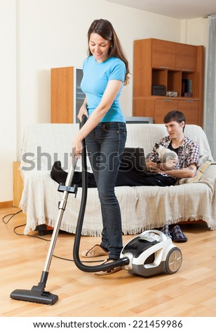 Smiling Spanish Middleaged Woman Hoovering Apartment Stock Photo 308739794 Shutterstock