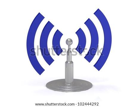Wifi antenna icon on white background, 3D render image - stock photo