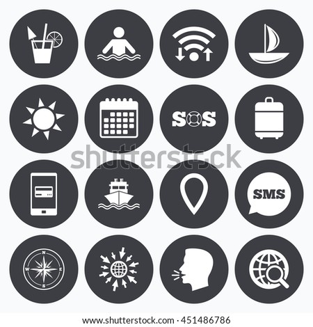 Wifi, calendar and mobile payments. Cruise trip, ship and yacht icons. Travel, cocktail and sun signs. Sos, windrose compass and swimming symbols. Sms speech bubble, go to web symbols. - stock photo