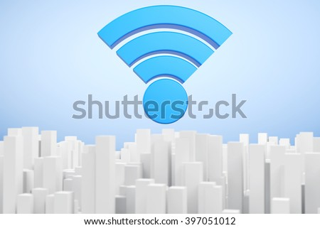 WiFi Communication Abstract Town extreme closeup