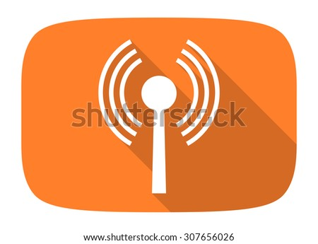 wifi flat design modern icon with long shadow for web and mobile app