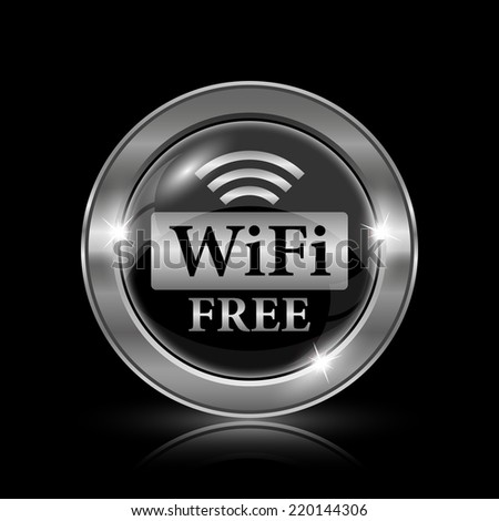 WIFI free icon. Internet button on black background.  - stock photo