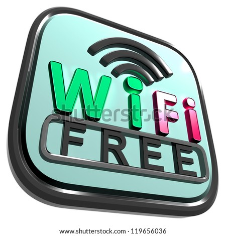 Wifi Free Internet Showing Wireless Connecting Service - stock photo