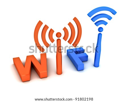 Wifi icon concept on white background - stock photo
