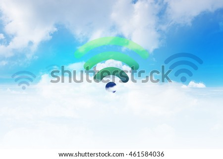 Wifi Icon on Blue Sky with Cloud, Internet and Network