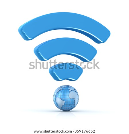 Wifi icon with world map , This is a computer generated and 3d rendered picture. - stock photo
