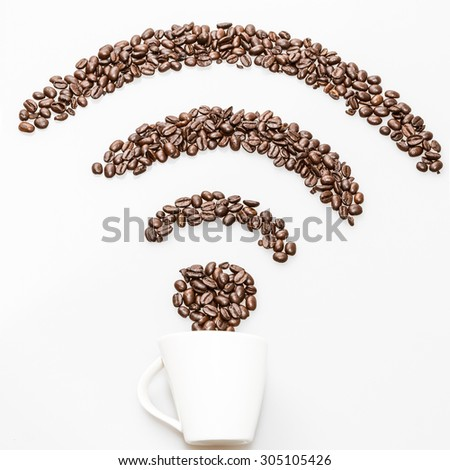 Wifi internet connection symbol made with coffee beans - stock photo