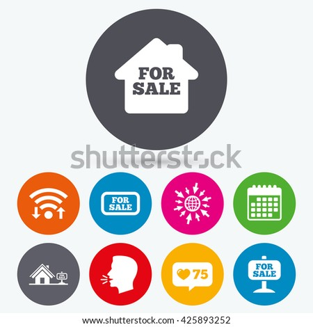 Wifi, like counter and calendar icons. For sale icons. Real estate selling signs. Home house symbol. Human talk, go to web. - stock photo