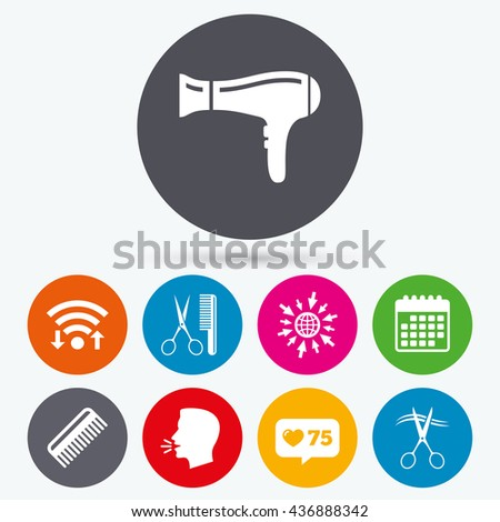 Wifi, like counter and calendar icons. Hairdresser icons. Scissors cut hair symbol. Comb hair with hairdryer sign. Human talk, go to web. - stock photo