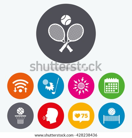 Wifi, like counter and calendar icons. Tennis rackets with ball. Basketball basket. Volleyball net with ball. Golf fireball sign. Sport icons. Human talk, go to web. - stock photo