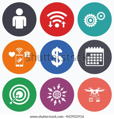 Wifi, mobile payments and drones icons. Business icons. Human silhouette and aim targer with arrow signs. Dollar currency and gear symbols. Calendar symbol. - stock photo
