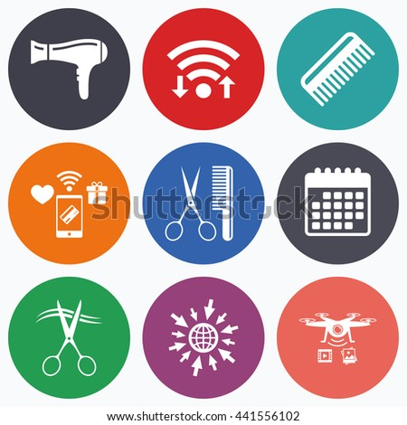 Wifi, mobile payments and drones icons. Hairdresser icons. Scissors cut hair symbol. Comb hair with hairdryer sign. Calendar symbol. - stock photo